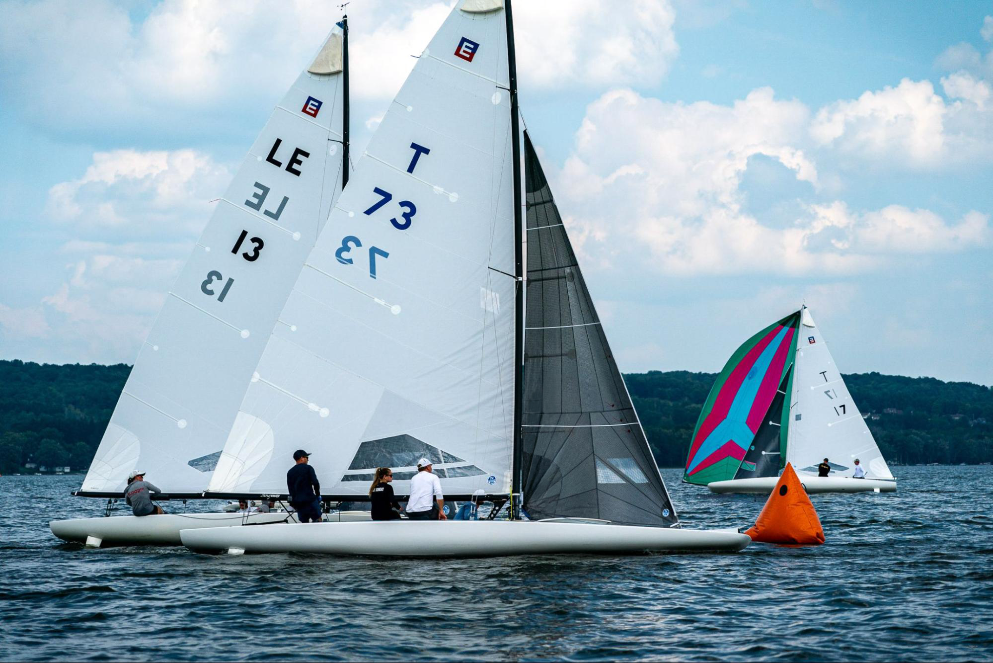New E Scow 3D-designed mainsail at the Easterns.