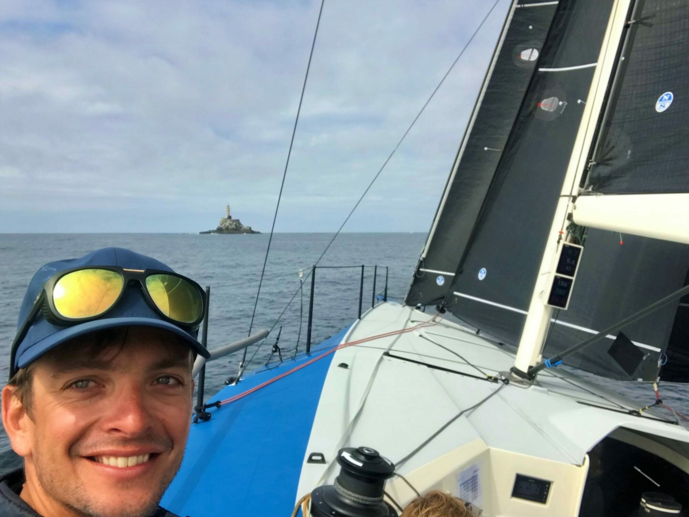 Ben Saxton racing onboard Oystercatcher and soon to round the prestigious Fastnet Rock